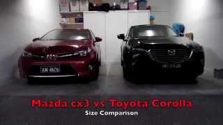 Mazda cx3 size comparison with Toyota Corolla