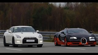 getlinkyoutube.com-[4k] RACE Nissan GTR Alpha 12 vs Bugatti Veyron Vitesse 1200 HP Highspeed Oval SHORT VERSION (7 min)