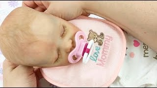 getlinkyoutube.com-Bonnie Brown Twin A Kit Reborn Baby Doll Changing into Christmas Sleeper Bottle Feeding