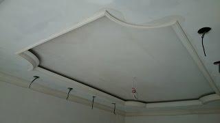 гипсокартонный потолок 15. Классический, с углами и подсветкой. Один из способов монтажа.