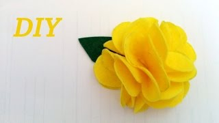 getlinkyoutube.com-FLOR DE FIELTRO FACIL Y RAPIDA, Felt flower fast.