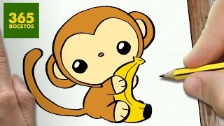 COMO DIBUJAR MONO KAWAII PASO A PASO , Dibujos kawaii faciles , How to draw a MONKEY
