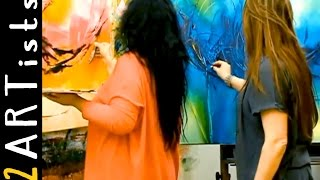 getlinkyoutube.com-Acrylic painting abstract - Speedpainting Demo - watch 2 artists by zAcheR-fineT