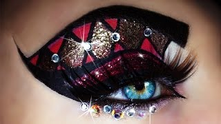 getlinkyoutube.com-Carnival - Mardi Gras Makeup Tutorial (trucco Carnevale) 4k OLED