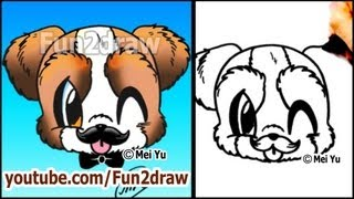 MUSTACHE Puppy - How to Draw a Cute Cartoon Dog