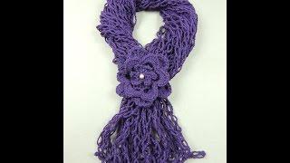 getlinkyoutube.com-Crochet : Bufanda con Flor y Punto Salomón