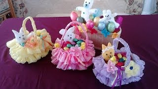 Amazing Easter Basket - crafted from recycled plastic bag and bottle.