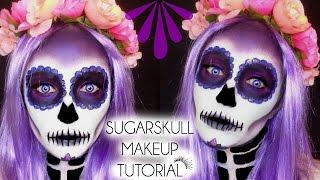 getlinkyoutube.com-HALLOWEEN SUGARSKULL - DAY OF THE DEAD Makeup Tutorial | Laura Sommerville