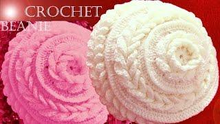 getlinkyoutube.com-Gorro boina tejido en punto de flor con hojas dobles a Crochet o Ganchillo