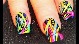 getlinkyoutube.com-NEON Abstract nails | Bright Spring Nail Art Design Tutorial