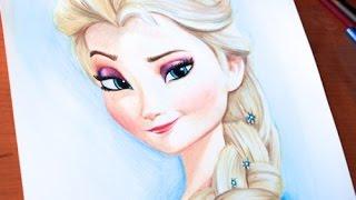 getlinkyoutube.com-Drawing: PRINCESS ELSA   Frozen   BUDGET ART