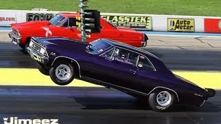 getlinkyoutube.com-HIGH FLYIN PROCHARGED '66 CHEVELLE VS PROCHARGED '67 NOVA AT BYRON 10-6-13