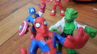 getlinkyoutube.com-Homem Aranha Spiderman Lagarto Lizard Playskool Hulk Marvel Imaginext Toys Juguetes Kids