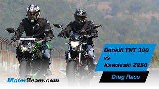 getlinkyoutube.com-Benelli TNT 300 vs Kawasaki Z250 - Drag Race   MotorBeam
