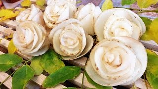 getlinkyoutube.com-Art In Potato Rose Flowers | Vegetable Carving Garnish | Roses Garnish (Italypaul)