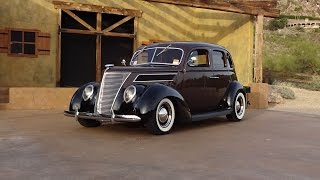 1937 Ford Slantback Custom 4 Door in Brown & Black & Engine Sound on My Car Story with Lou Costabile