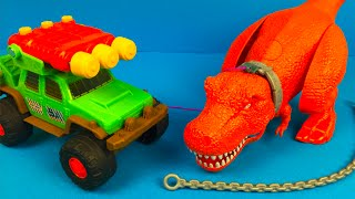 getlinkyoutube.com-Matchbox on a mission Dino Trapper Trailer Dinosaur Toys for kids Talking TRex
