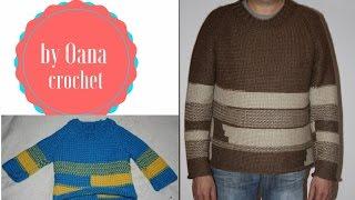 getlinkyoutube.com-Tunisian crochet sweater for  man 2- by Oana