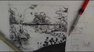 getlinkyoutube.com-Pen & Ink Drawing Tutorials | How to draw a river landscape scene