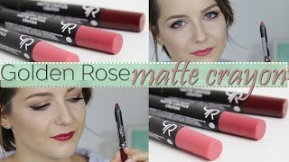 getlinkyoutube.com-TEST: szminki w kredce Golden Rose matte crayon!
