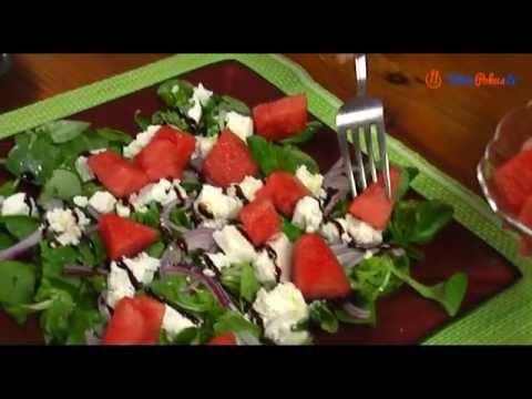 Sałatka z roszponki z arbuzem