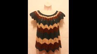 getlinkyoutube.com-CROCHET How to #Crochet Womens Plus size Chevron Shirt Top Blouse  #TUTORIAL #196