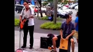 Bob Aizad & Wan ( JB Buskers )  - Larut by Dewa 19 Acoustic Busking Cover