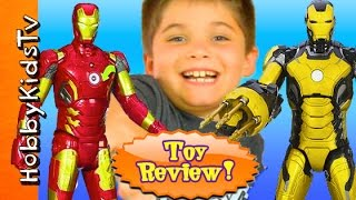 getlinkyoutube.com-Iron Man ACTION FIGURES! Iron Man 3 Toy Review Box Open by HobbyKidsTV