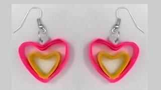 getlinkyoutube.com-Heart shape quilling earrings making tutorials | quilling papers earring