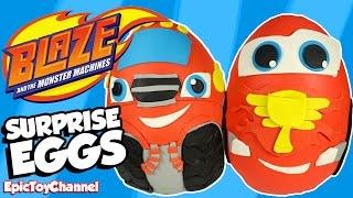 getlinkyoutube.com-SURPRISE EGGS Blaze and the Monster Machines vs Disney Cars Toy McQueen Surprise Egg Battle