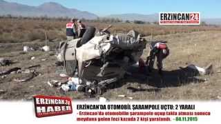 Erzincan'da Şarampole Uçan Otomobilde 2 Kişi Yaralandı