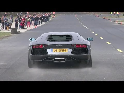 Lamborghini Aventador LP700-4 - Dragracing on a closed Airfi