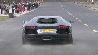 getlinkyoutube.com-Lamborghini Aventador LP700-4 - Dragracing on a closed Airfield!