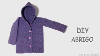 getlinkyoutube.com-Cómo tejer abrigo o chaqueta de lana con capucha para bebé.