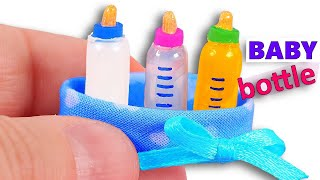 DIY miniature Baby Bottles ~ with Milk, Water, and Orange Juice