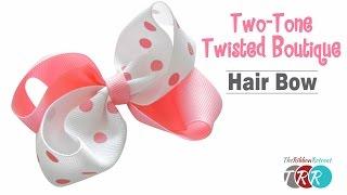 getlinkyoutube.com-How to Make a Two Tone Twisted Boutique Hair Bow - TheRibbonRetreat.com