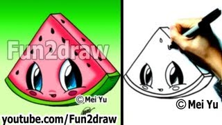 getlinkyoutube.com-Kawaii Food - How to Draw Food - Watermelon - Popular Cartoon Drawing Video - Fun2draw