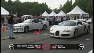 getlinkyoutube.com-Bugatti Veyron vs Nissan Skyline GT-R R34