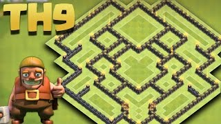 getlinkyoutube.com-Clash of Clans - Town Hall 9 (TH9) New Farming Base 2016 [The Spaceship] + Replays