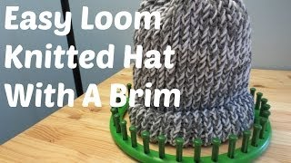 getlinkyoutube.com-Easy Loom Knitted Hat With A Brim