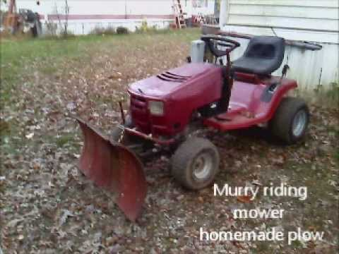 Homemade lawn tractor snow plow