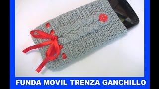 getlinkyoutube.com-Funda movil trenzada a ganchillo - Capa telefone crochet