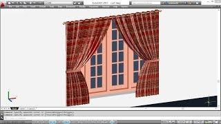 getlinkyoutube.com-CREATING 3D CURTAINS | AUTOCAD 3D CURTAIN