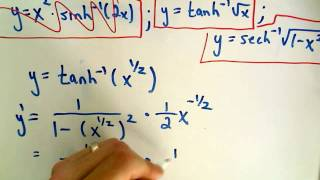 Inverse Hyperbolic Functions - Derivatives