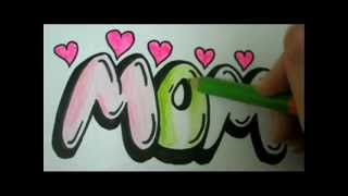 getlinkyoutube.com-Draw MOM - How To Draw MOM In Easy Graffiti Bubble Letters