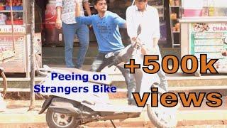 getlinkyoutube.com-Peeing on strangers bike | prank gone wrong | prank in india