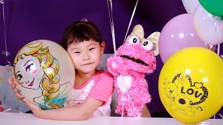 목소리가 바뀌는 엘사 헬륨풍선 뽀로로 미술 장난감 놀이 LimeTube & Toy 라임튜브