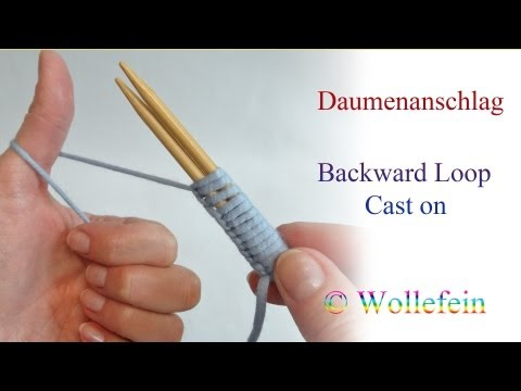 How To Knit Daumenanschlag Backward Loop Cast On - Thumb Cast On