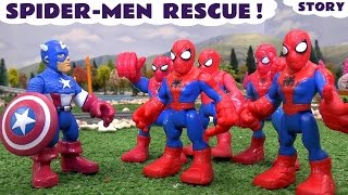getlinkyoutube.com-Spiderman Rescue  Avengers Captain America   Thomas and Friends Toys with Iron Man Action Story