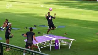 Neymar Coutinho vs Gabriel Jesus Dani Alves FUNNY Football Table Tennis (ping pong)  match HD